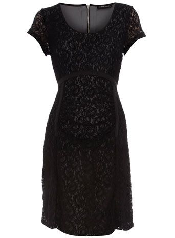 Black lace tie maternity dress