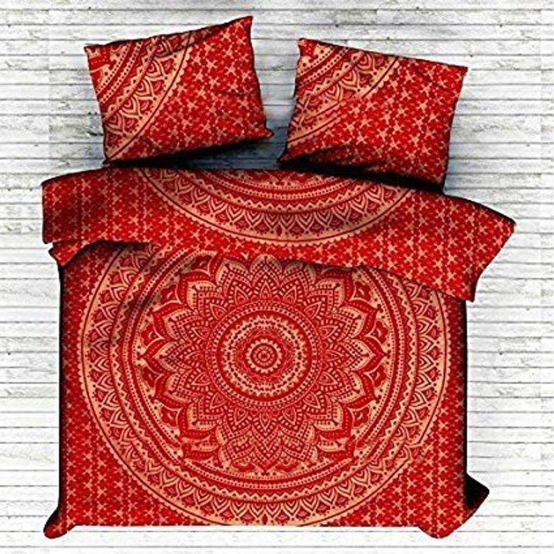 Double Size Cotton Mandala Duvet Cover Indian Bedding Set Room Etsy Red Duvet Cover Mandala Duvet Cover Duvet Covers