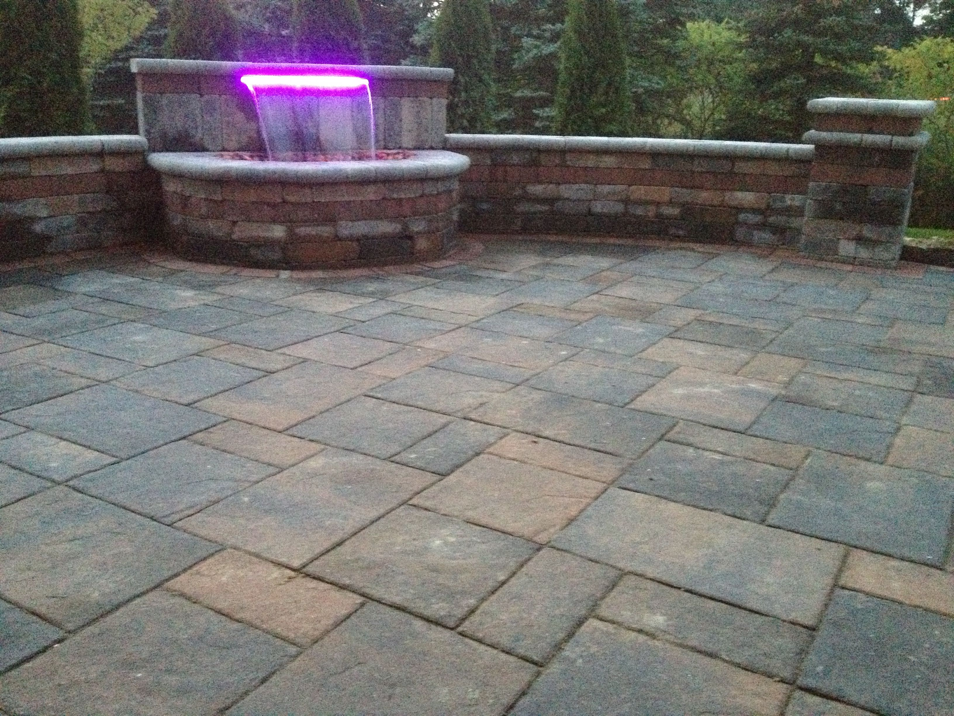 Brick paver patio and waterfall with 16 color LED light All