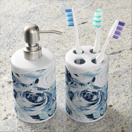 Blue White Winter Floral Roses Vintage Shabby Chic Bathroom Set