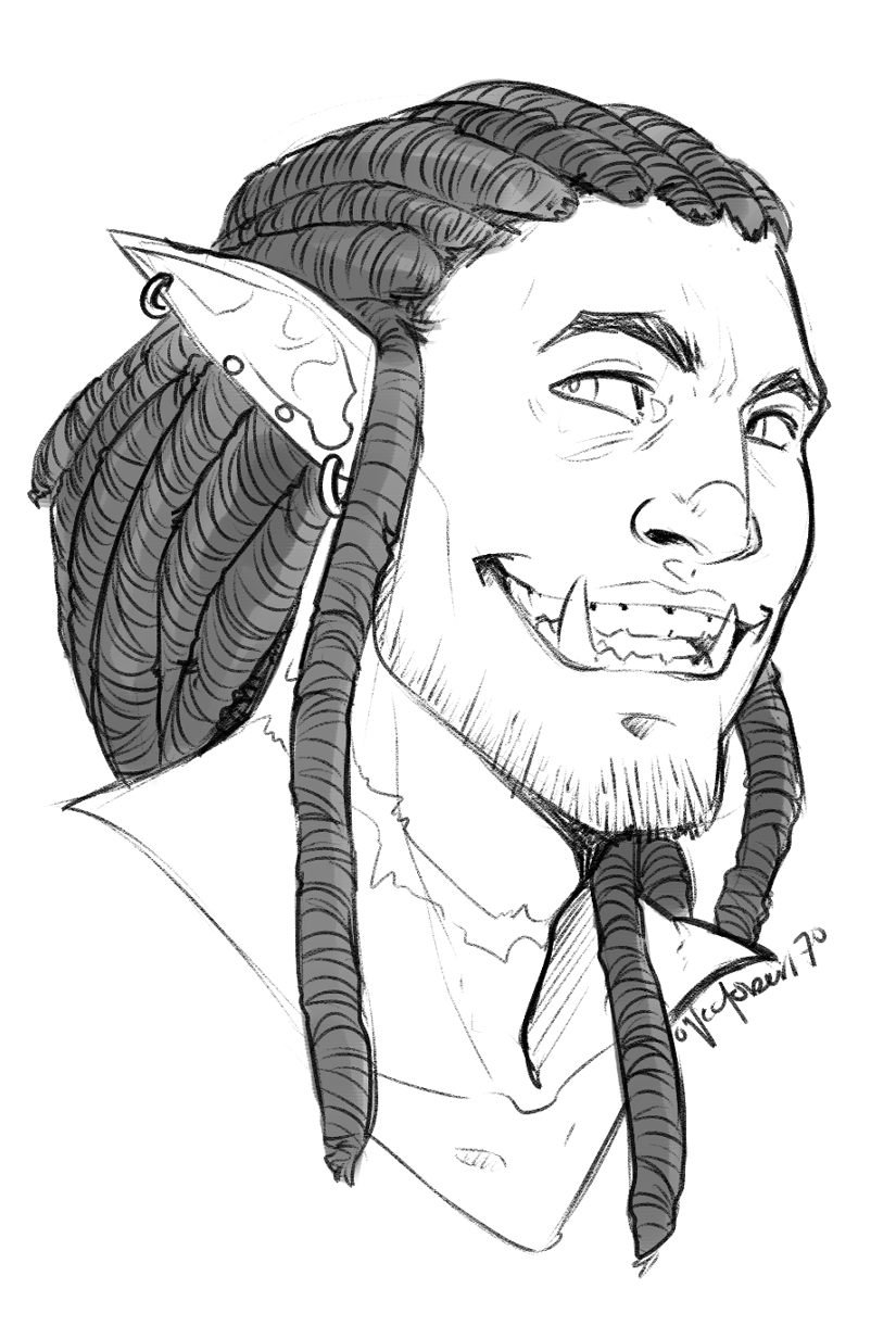 headshot for @al-uminum 's half orc for their d&d campaign