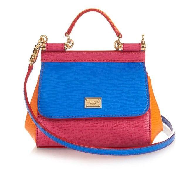 Dolce & Gabbana Mini Sicily colour-block leather cross-body bag ($1,132) ❤ liked on Polyvore featuring bags, handbags, shoulder bags, crossbody handbags, blue leather handbag, blue handbags, mini crossbody and leather crossbody handbags