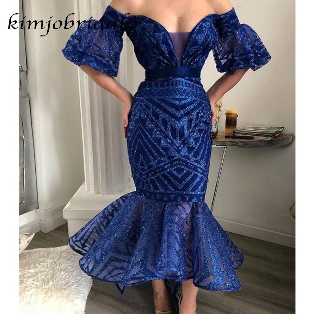 Royal Blue Evening Dresses Short Sparkle Off The Shoulder Mermaid Elegant Evening Gowns 2020 Blue Evening Dresses Royal Blue Evening Dress Sequin Evening Dresses