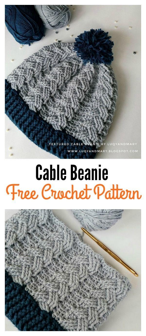 Cable Beanie Hat Free Crochet Pattern | Tejidos para principiantes ...