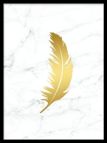 Feather gold marble, en tavla med marmor och guldfjäder i stilren design. En riktigt snygg och stilren poster som passar där du vill lyxa till det en aning. Vi har även fler posters och prints med guld och marmor som är snygga att matcha med detta print för en lyxig känsla.