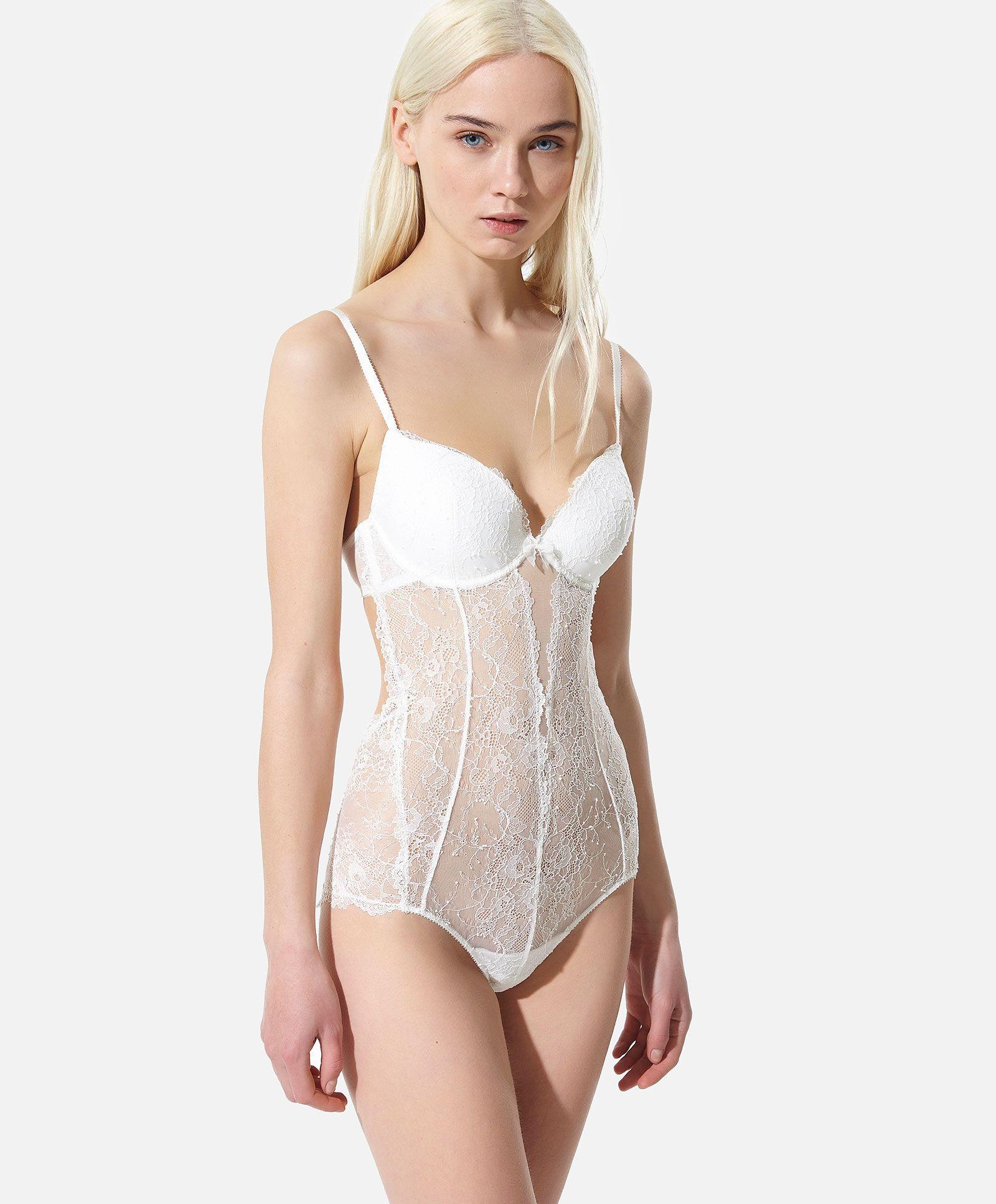 e0ea58b2e8b55 Body com enchimento renda floral - OYSHO | lingerie | Lace bodysuit ...