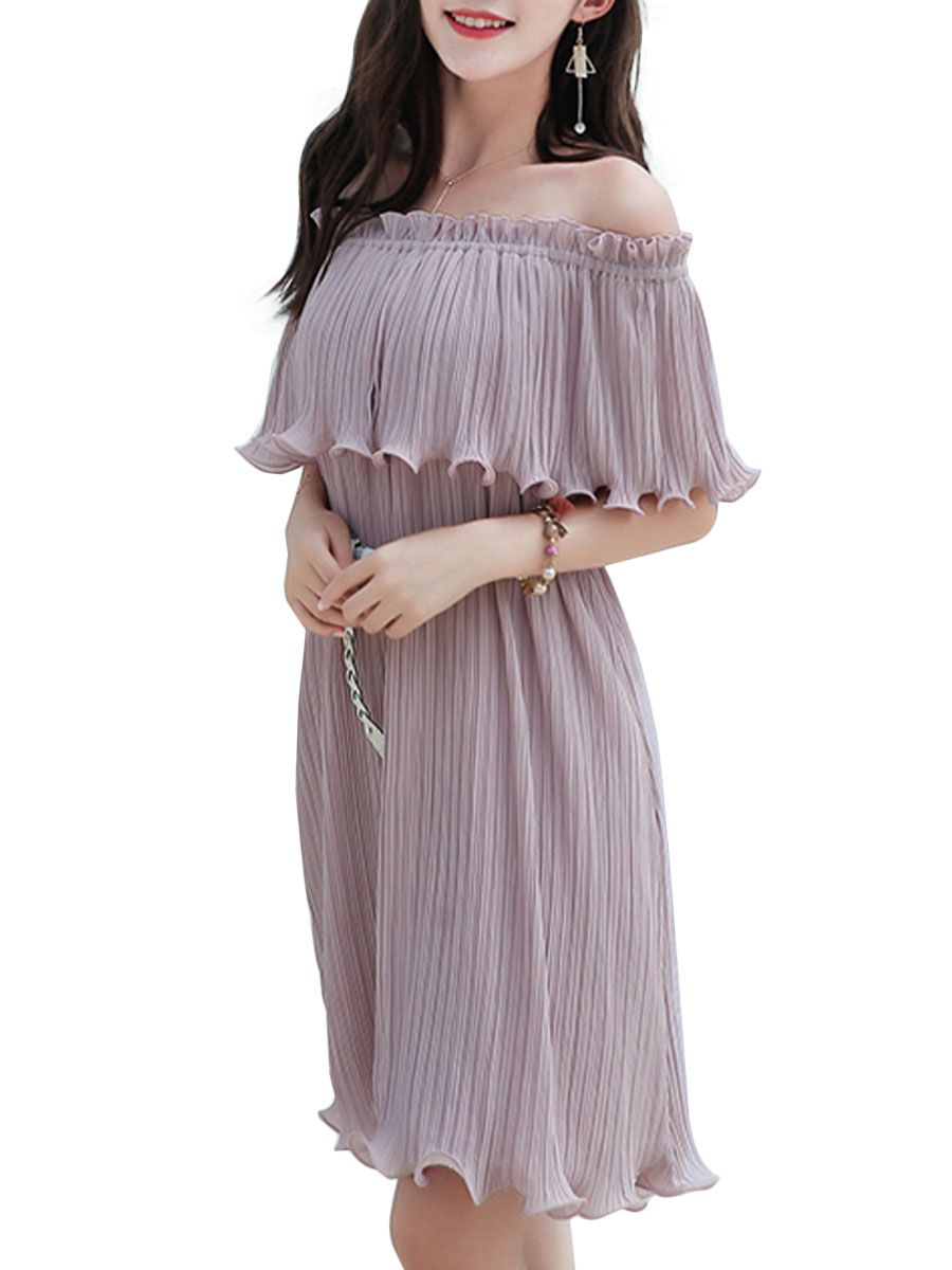 Buy Women s Pleated Dress Fashion Sweet Off Shoulder Dress   Regular Dresses  - at Jolly Chic 6bc4e792a