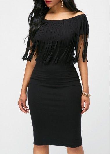 a5ad7d1d1f7 Black Tassel Embellished Boat Neck Dress