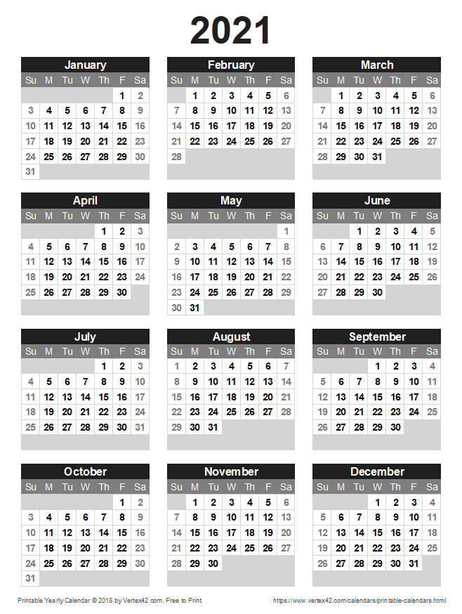 Download A Free Printable 2021 Yearly Calendar From Vertex42 Com In 2020 Printable Yearly Calendar Calendar Printables Free Printable Calendar