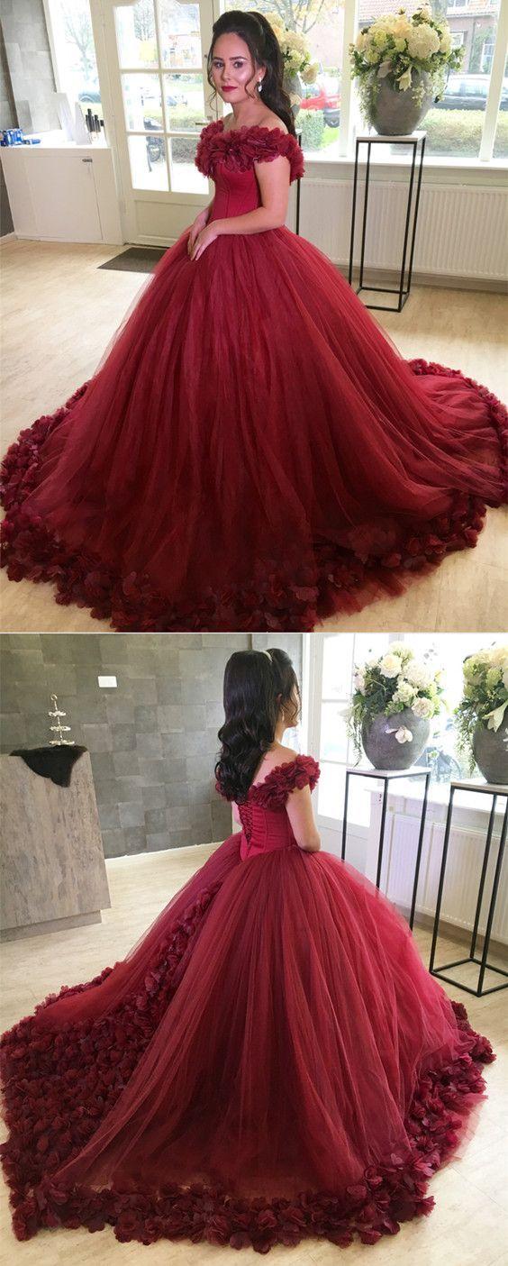 Burgundy Flower V-neck Tulle Ball Gowns Quinceanera Dresses