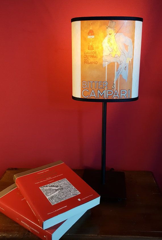 Etsy €23 00 lampshade cocktail handmade this image printed on this lampshade is an old poster of campari https en wikipedia org wiki campari home living