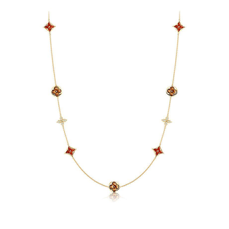 Color Blossom Halskette, Gelbgold, Karneol, Tigerauge und Diamanten  DAMEN BESONDERE GESCHENKIDEEN  | LOUIS VUITTON