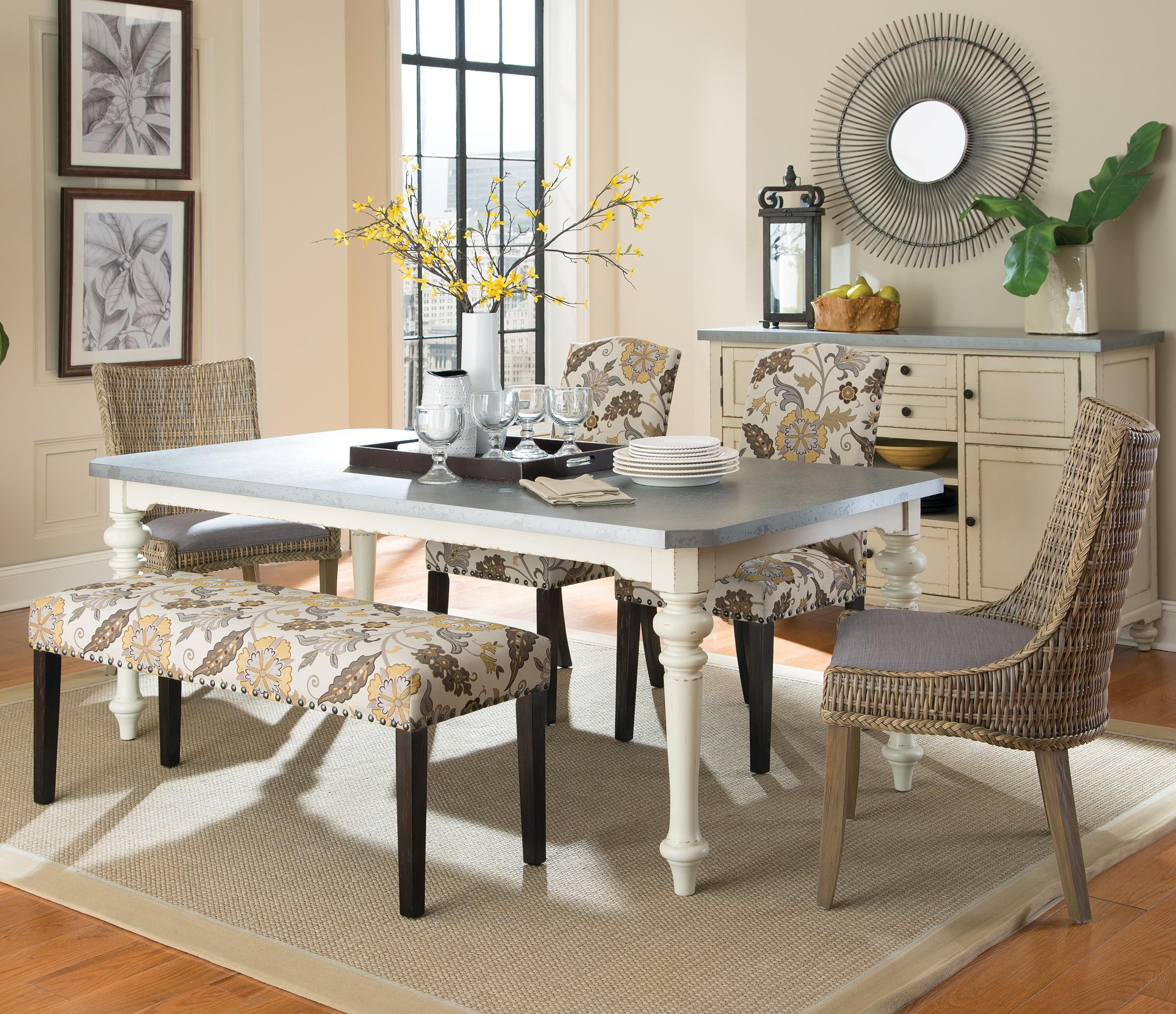 Coaster Matisse Six Piece Dining Set With Upholstered Bench And Adorable Dining Room Table And Chairs Ebay Design Ideas