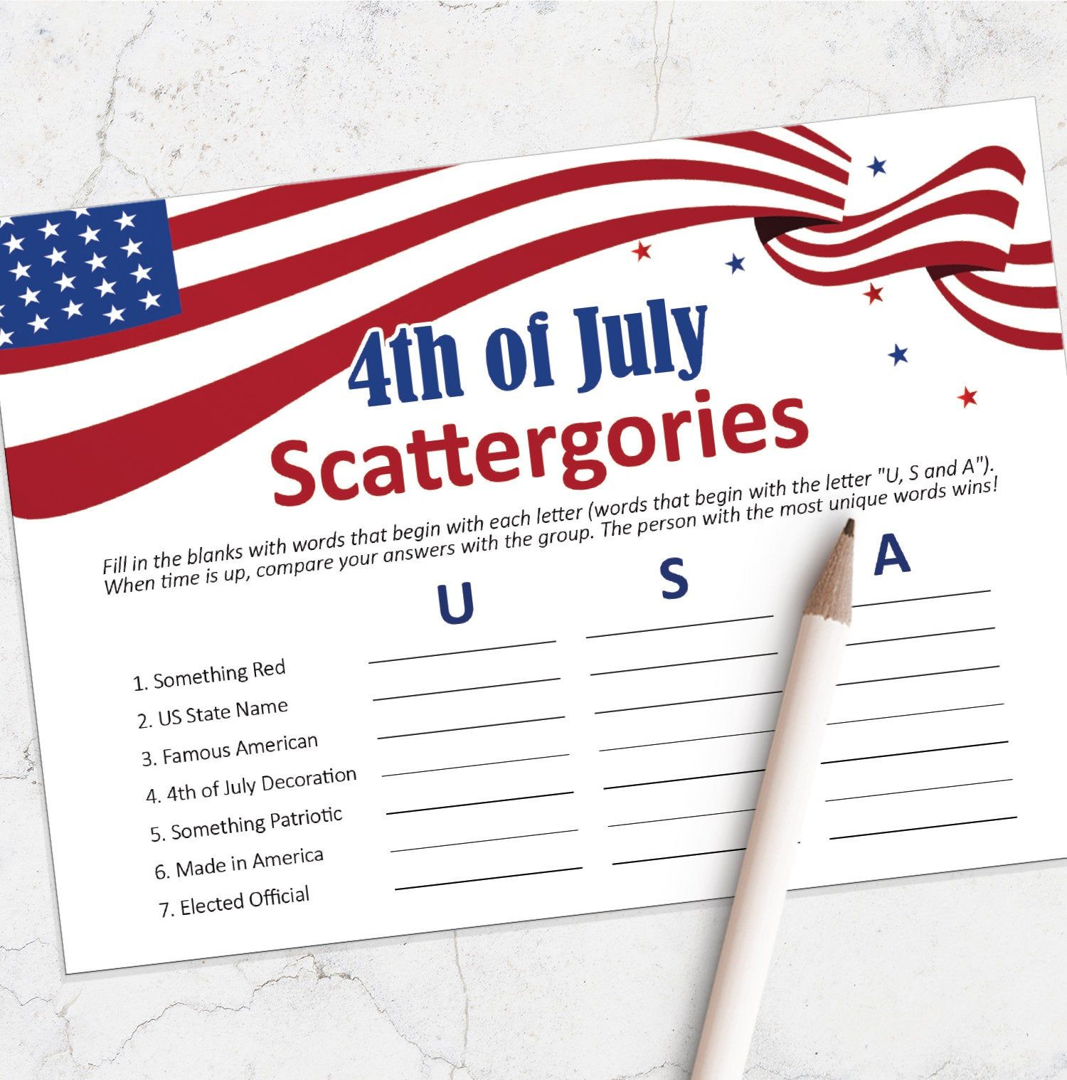 4th of July printable game printable scattergories game
