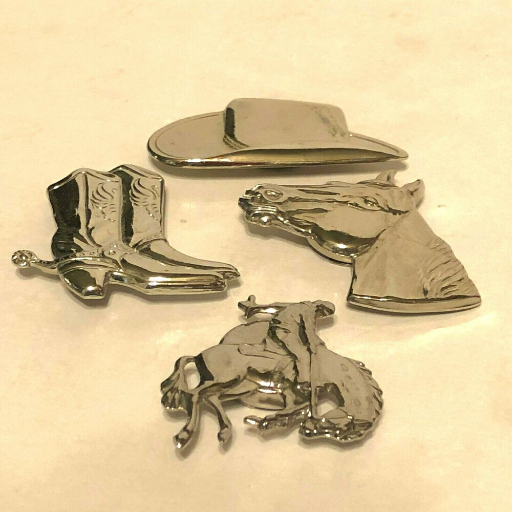 Southwestern Cowboy Western Metal Button Covers Set Of 4 In 2020