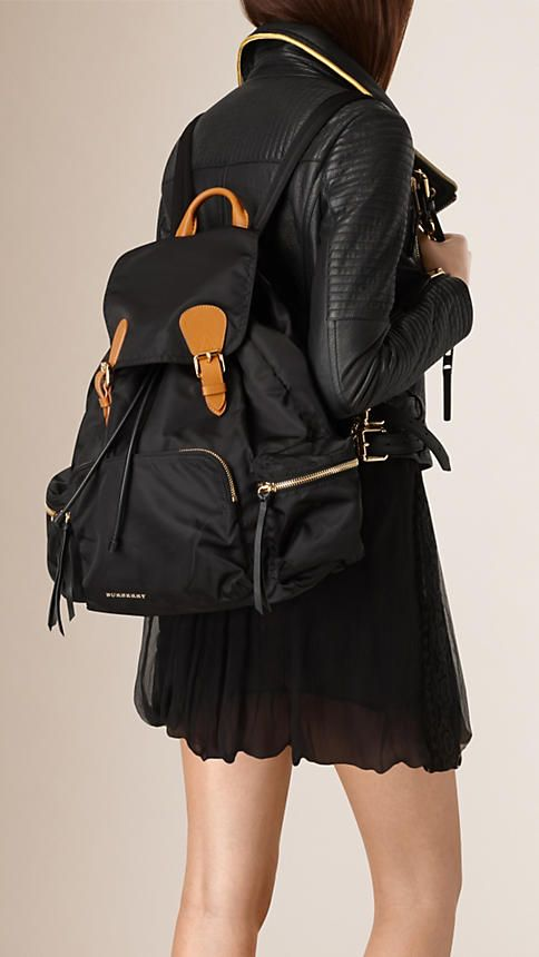 efa42f75acd1 The Large Rucksack in Technical Nylon and Leather in Black - Women ...