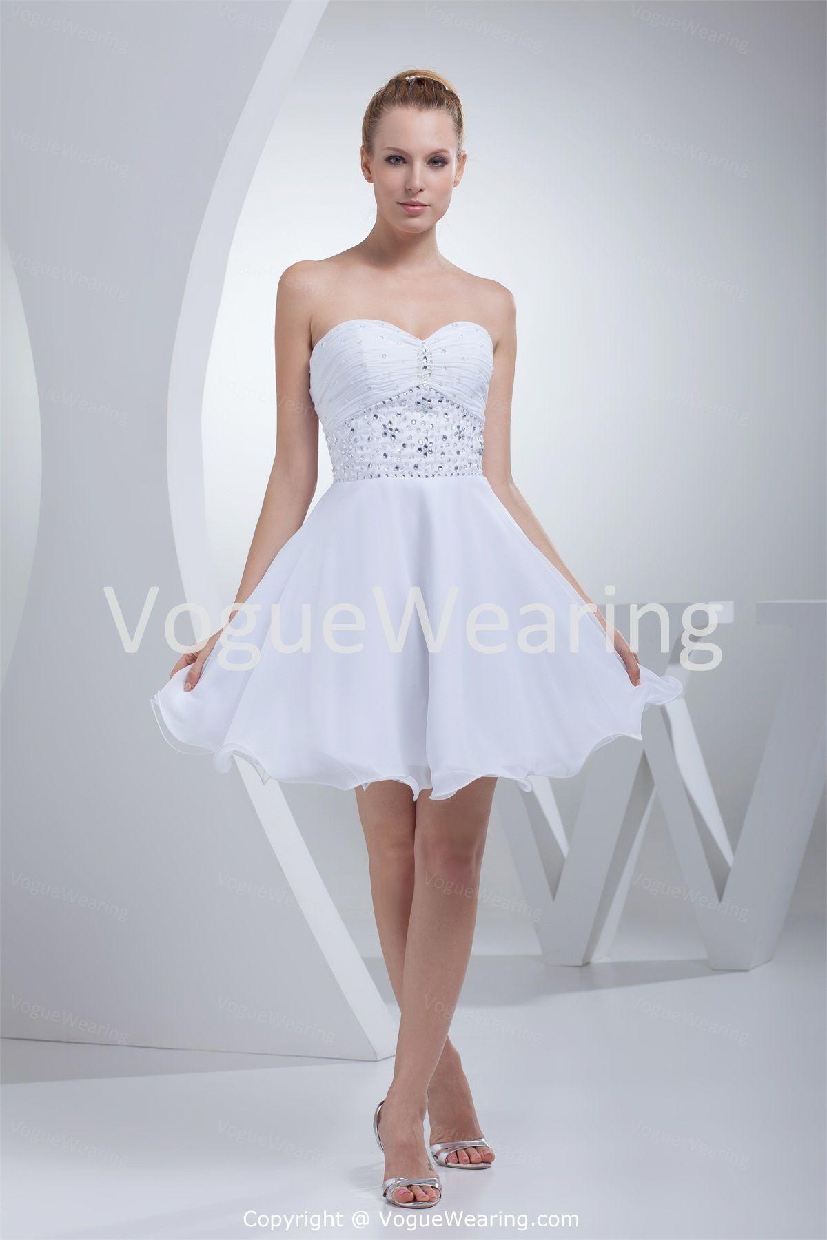 Mini white wedding dress  SleevelessBeadingALineShortMiniSweetheartQuinceaneraDress