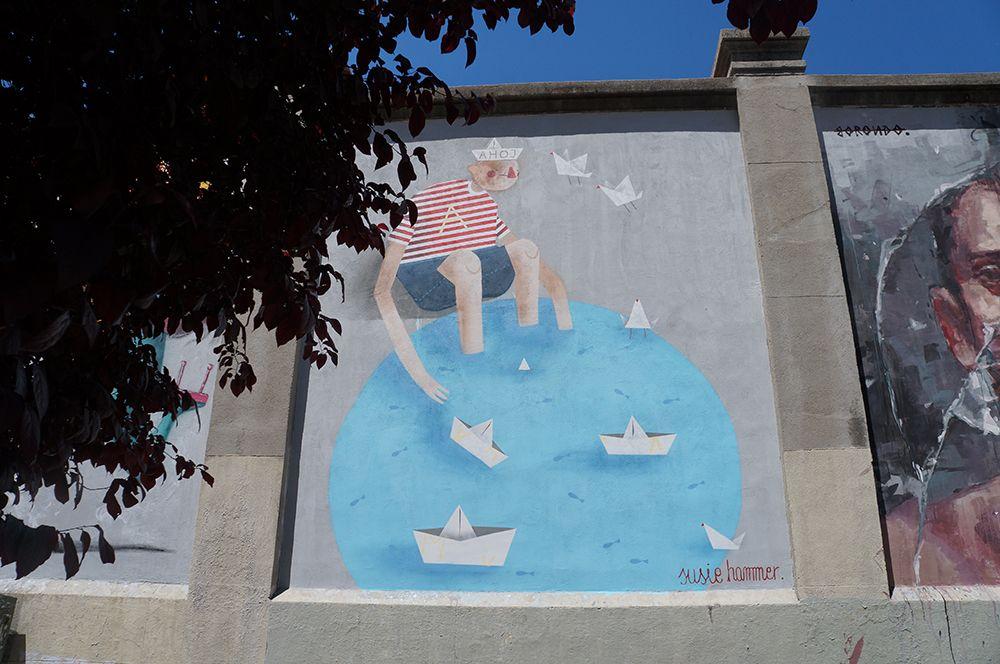 """Susie Hammer. Proyecto """"Muros"""".#ArteTabacalera Promoción del Arte #ArteUrbano #StreetArt Madrid Día de la Inauguración. #Arterecord 2014 https://twitter.com/arterecord"""