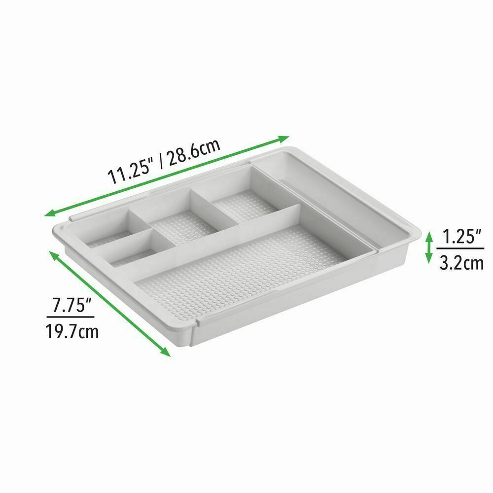 mDesign Adjustable/Expandable Plastic Drawer Organizer Tray for Bathroom Vanity, Countertop for Makeup Brushes, Eye Shadow Palettes, Lipstick, Gloss - 7 Compartments 7 COMPARTMENTS: Multi-compartment drawer organizer separates cosmetic essentials and stre