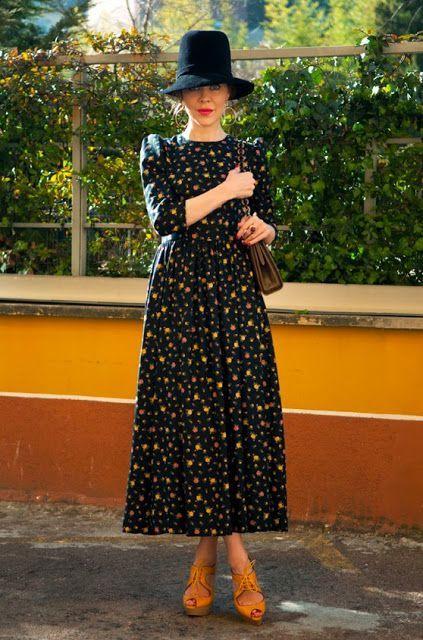 2020 Uzun Basma Elbiseler Günlük Siyah Uzun Yetim Kol Desenli