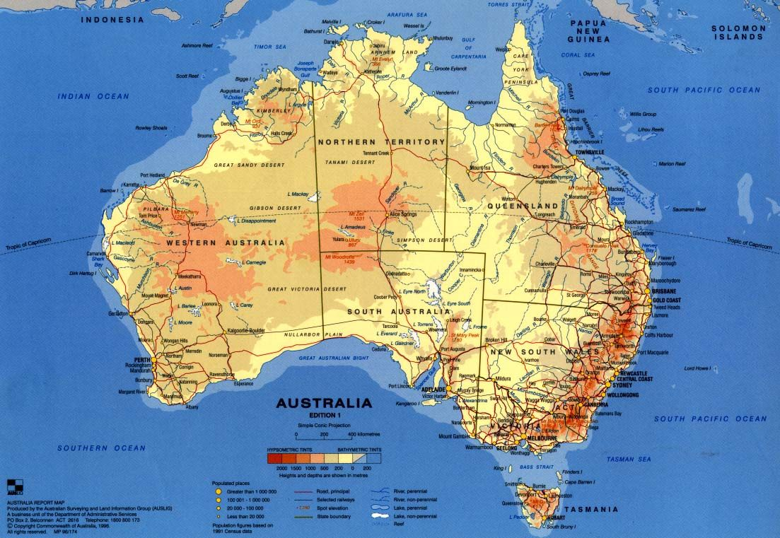 Mapa Físico De Australia Dividido En Sus Territorios Mapas - Australia map hd