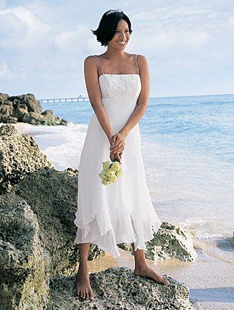 Slim Line Straps Handkerchief Hem Wedding Dress Perfect For A