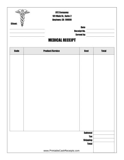 Medical Receipt Receipt Template Small Business Planner Receipt