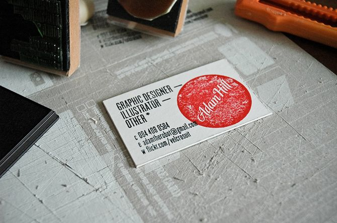 Business Card By Adam Hill Using Two Stamps Colors Spare