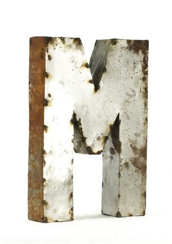 Rustic Metal Small Letter M 18 H
