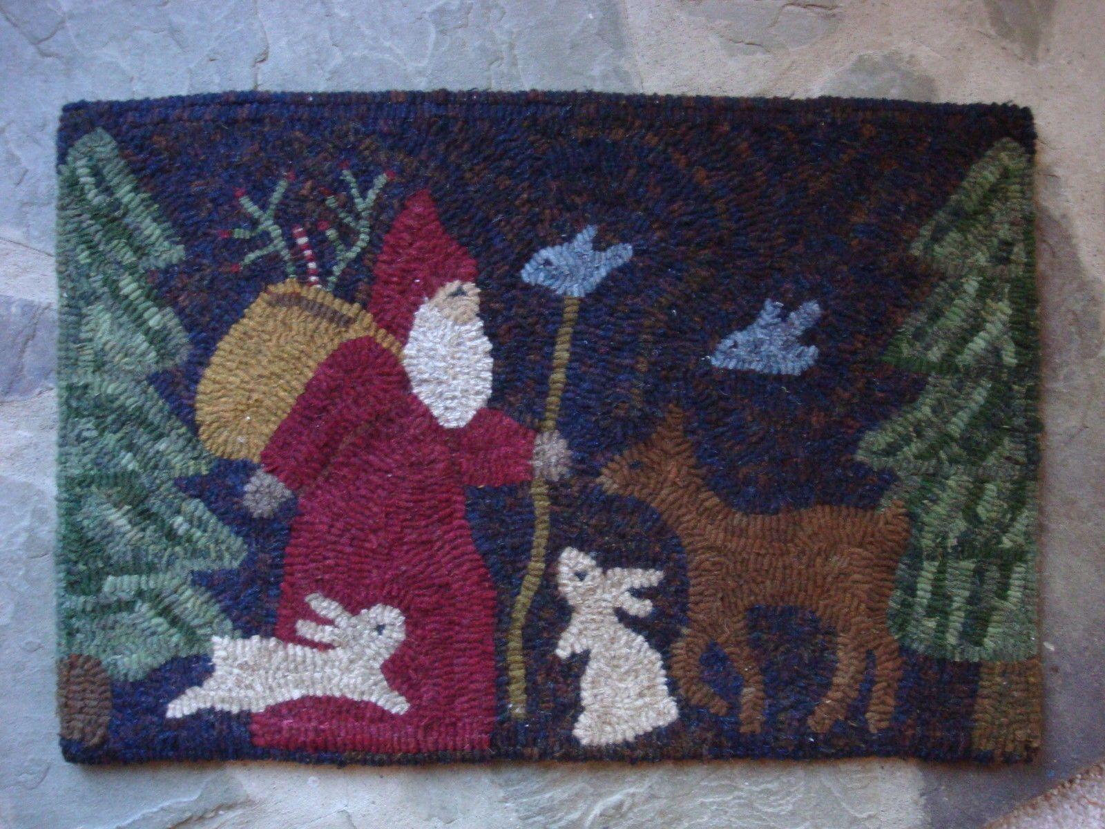 Primitive Hooked Rug Santa Deer Rabbit Bunny Winter Christmas...~♥~