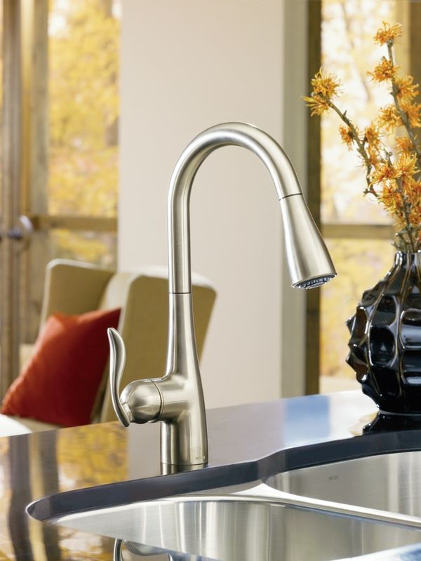 Arbor Classic Stainless One Handle High Arc Pulldown Kitchen Faucet 7594csl Moen Kitchen Faucet High Arc Kitchen Faucet Pulldown Kitchen Faucets