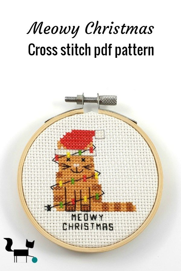 Photo of This cute meowy Christams is part of my Christmas pun cross stitch pdf pattern l…