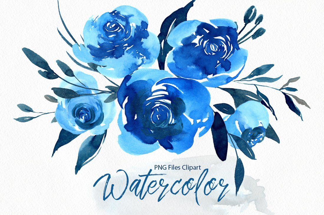 watercolor indigo blue roses flowers png (54168) | illustrations | design  bundles in 2021 | flower drawing, watercolor flowers, blue roses  pinterest