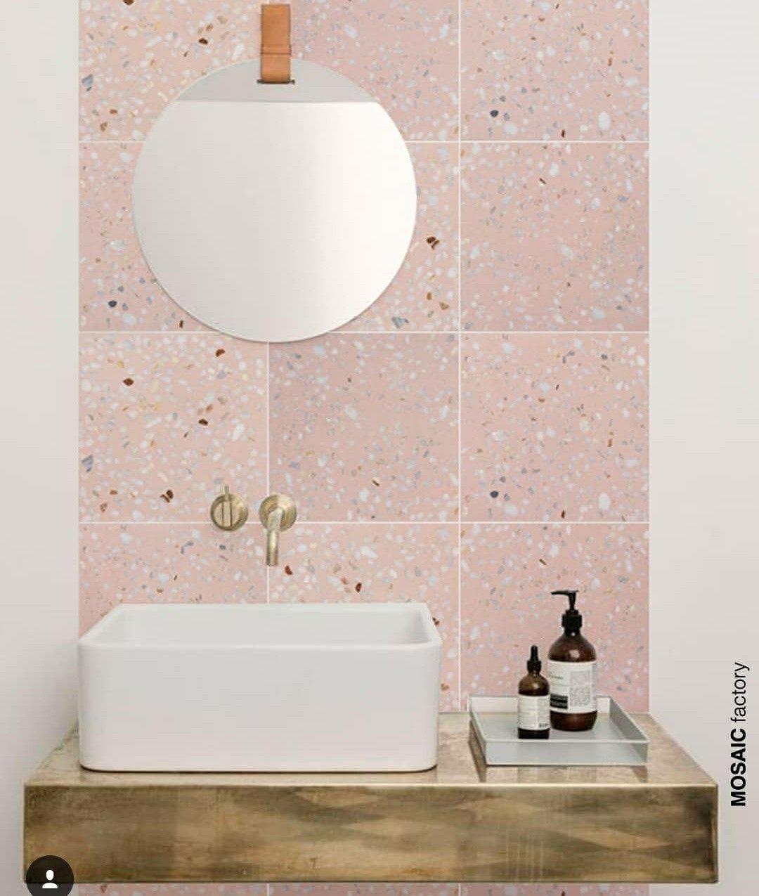 Roze Terrazzo Op Toilet Roze Badkamer Badkamerideeen Badkamer