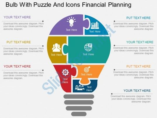 eb bulb with puzzle and icons financial planning flat powerpoint - puzzle powerpoint template