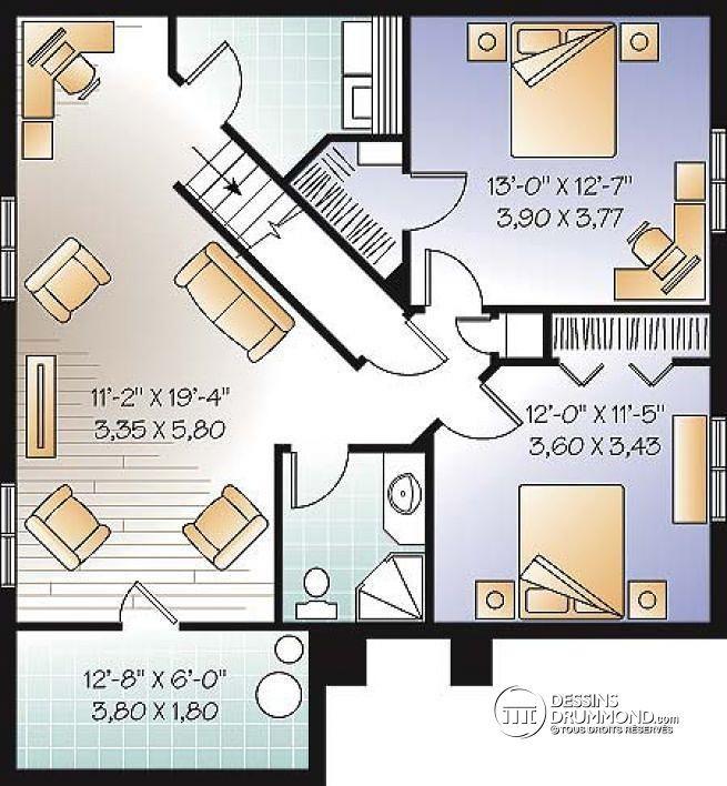 W2197-V1 - Plain-pied style château, 4 chambres, 2 s séjour, coin