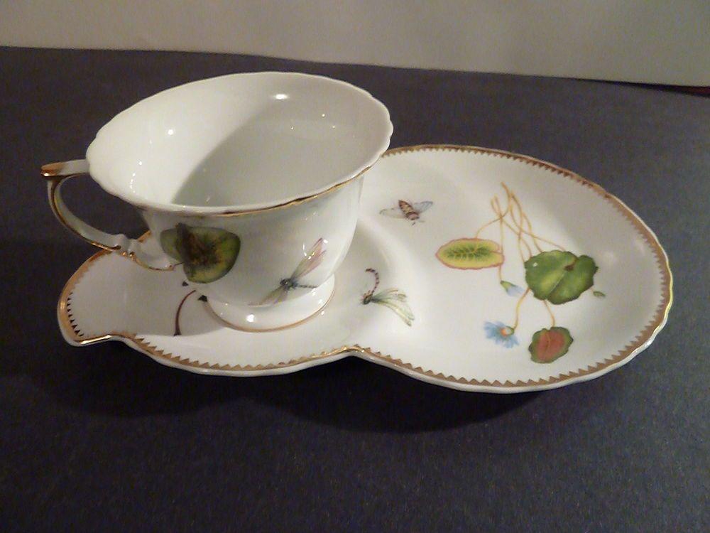 I.Godinger Primavera Espresso Demitasse Cup & Snack plate Dragonfly Butterflies