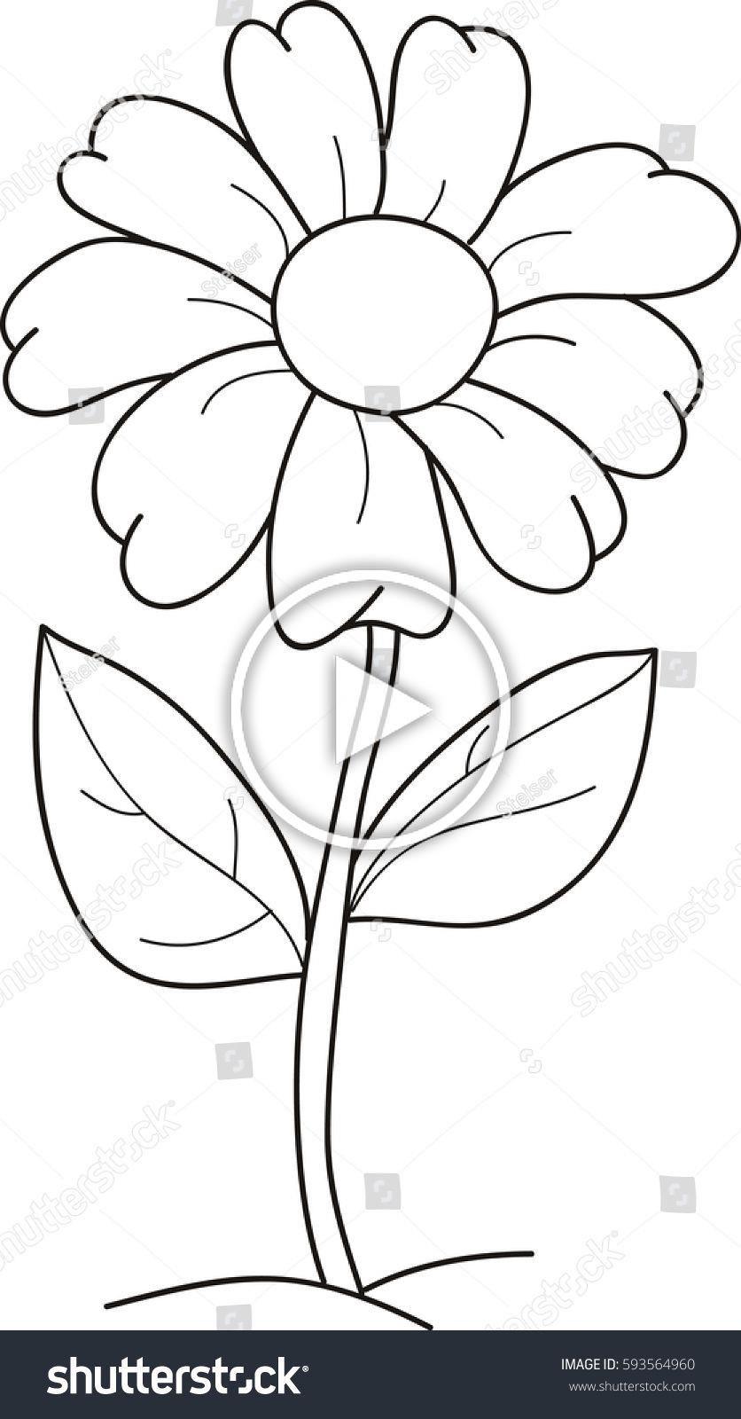 Vetor Stock De Ilustracao Vetorial De Desenhos Animados De Livre De Direitos 59356 In 2020 Easy Flower Drawings Printable Flower Coloring Pages Flower Coloring Pages