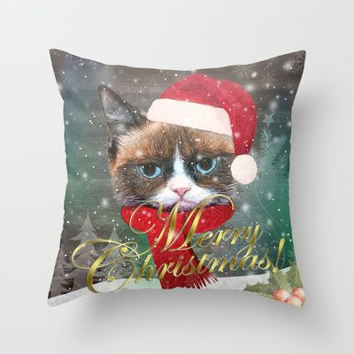 ~ Meowy Christmas ~ Throw Pillow by Nirvana.K - $20.00