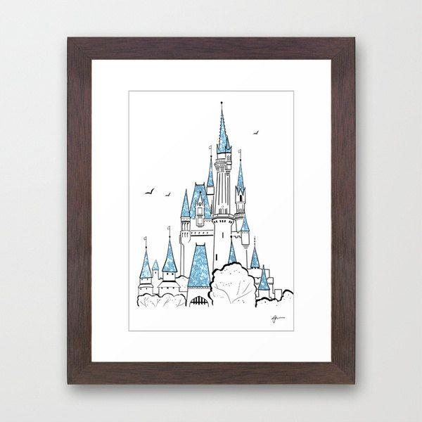 Disney Princess Cinderellas Castle Minimalist Art 11x16 Mounted Professional Metallic Print - Disney Home Decor, Glitter Accents. $30.50, via Etsy.