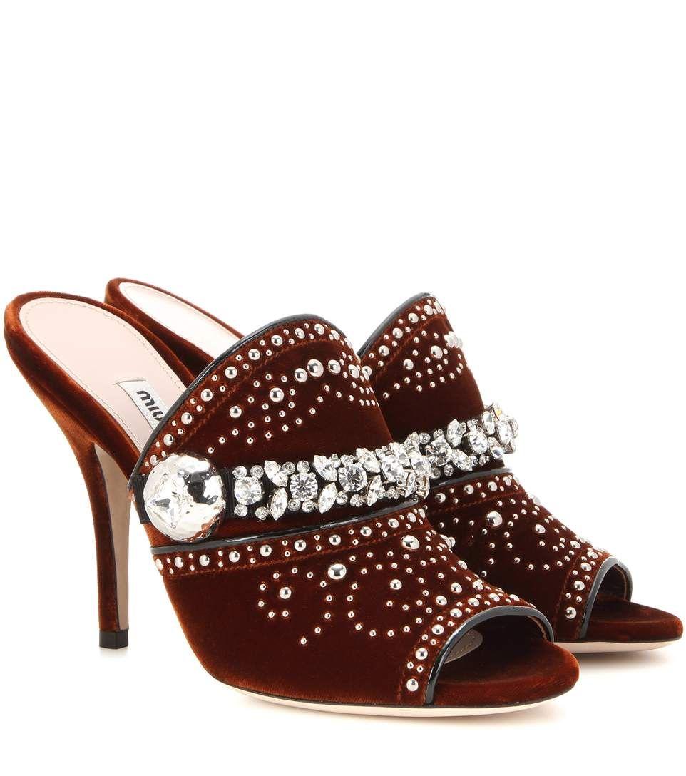 8d1f3914ab4 mytheresa.com - Embellished velvet mules - Luxury Fashion for Women    Designer clothing, shoes, bags