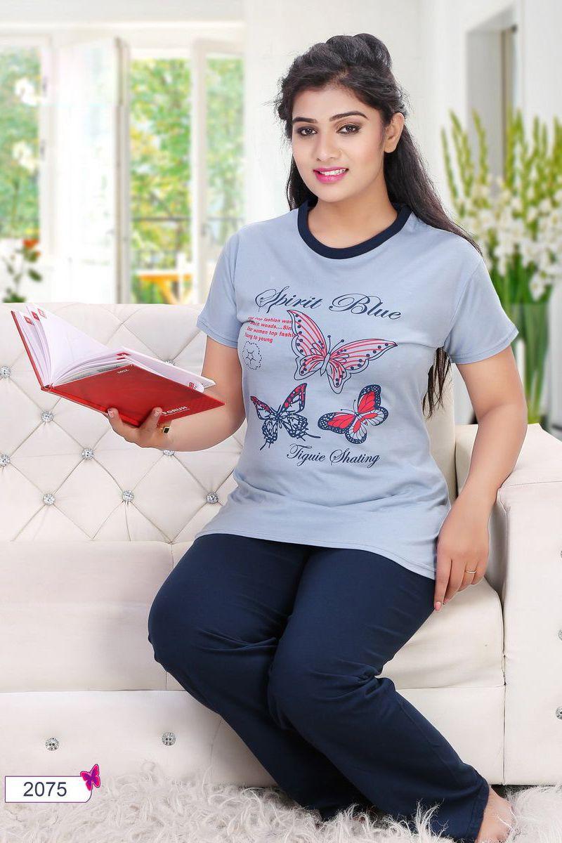cd4141d2c0 Whatsapp  - +91 9377709531 Grey-Simple-Cotton-Womens-Night-Wear-Printed- Tshirt-And-Blue-Pyjama-2075-12537  wholesale  bulk  wholesalesupplier ...