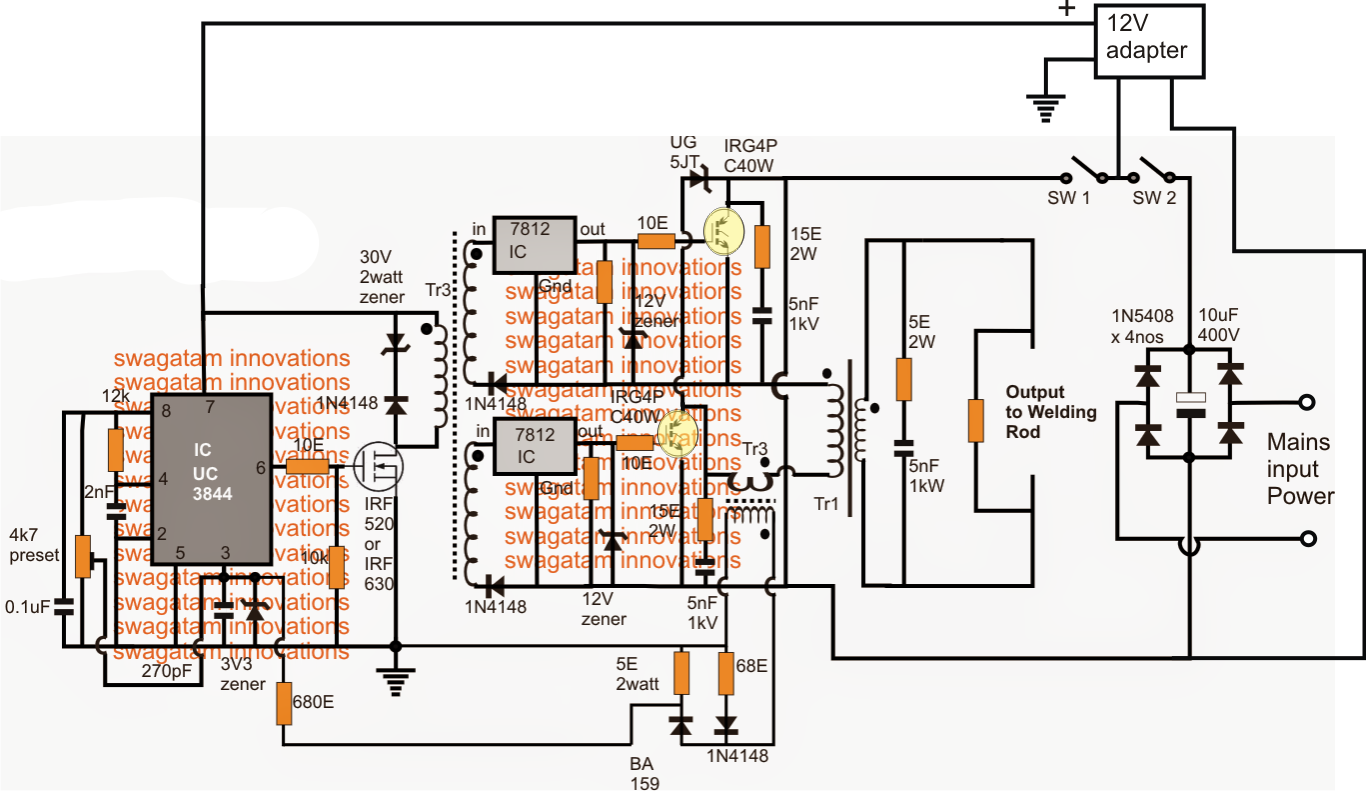 hight resolution of smps welding inverter circuit