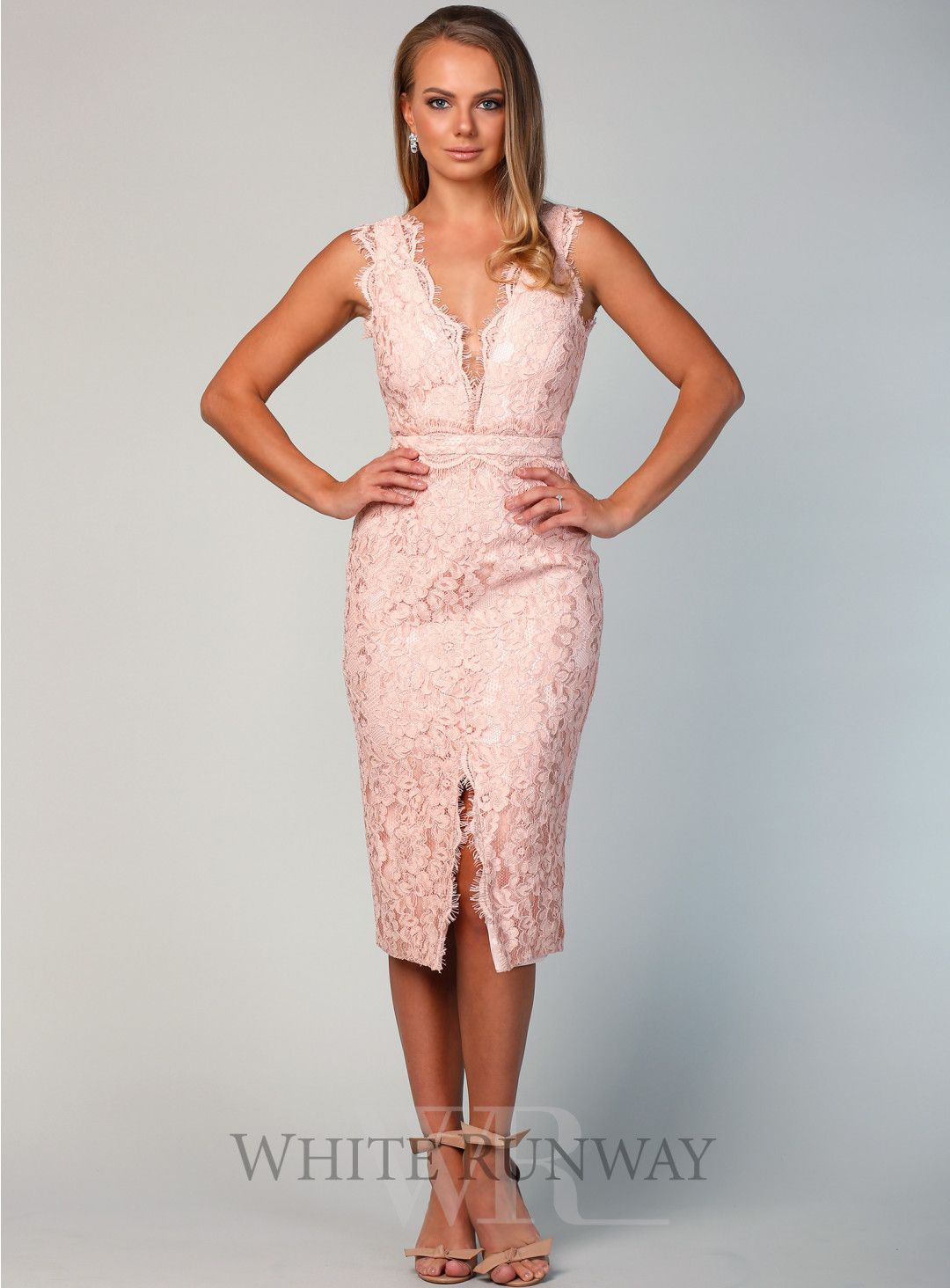 Willa Cocktail Dress A Gorgeous Midi By Samantha Rose A Deep V Neck Style Featuring See Through M Cocktail Dress Wedding Summer Cocktail Dress Cocktail Gowns
