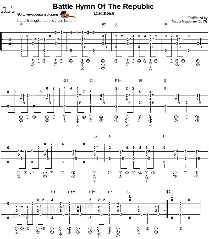 Battle Hymn Of The Republic Fingerstyle Guitar Tab Sheet Music