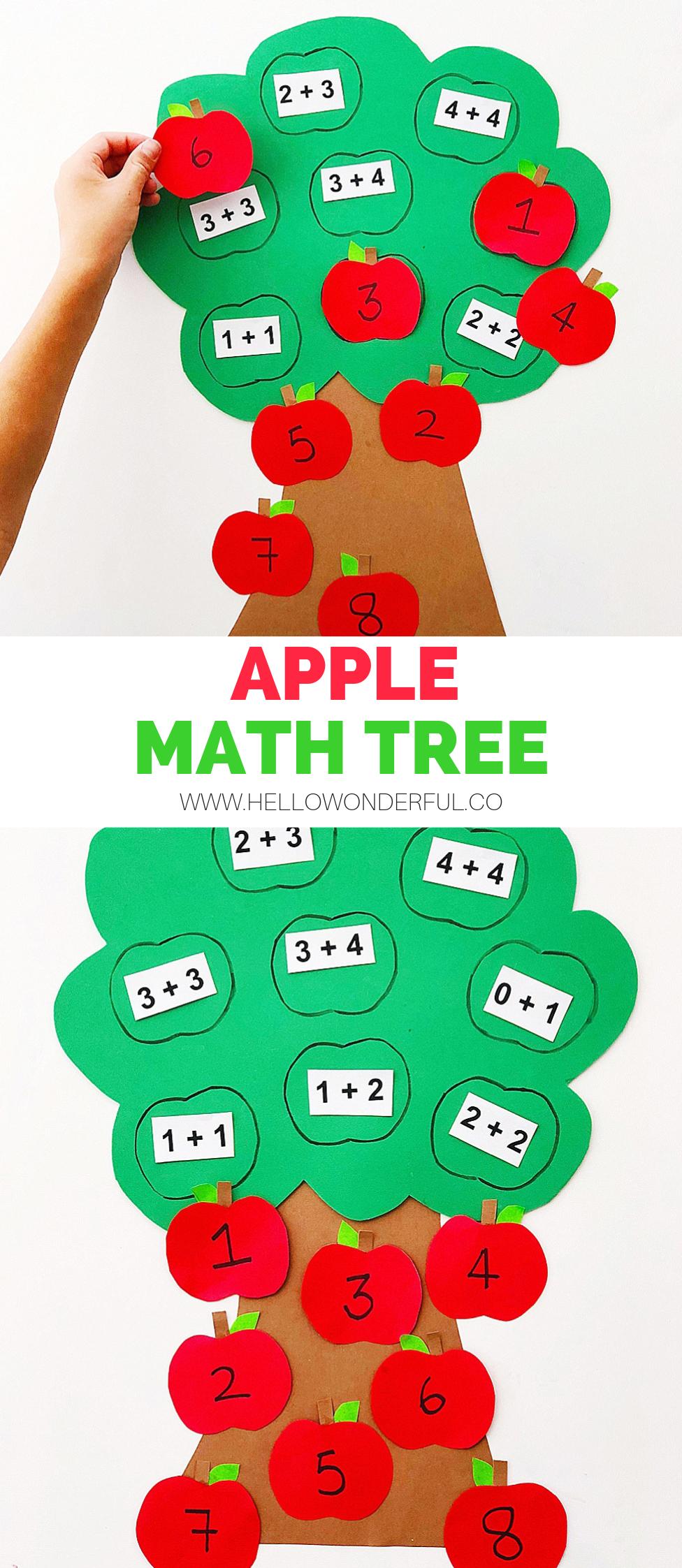 APPLE MATH TREE LEARNING ACTIVITY   занятия   Pinterest