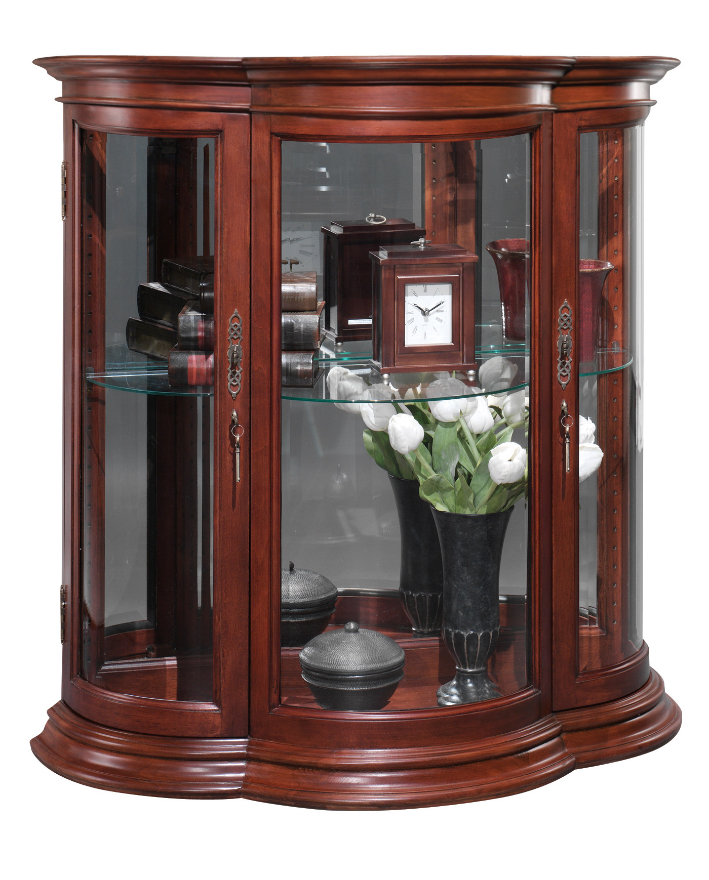 Crescent Curio Console Glass Cabinets Display Curio Cabinet Cabinets For Sale