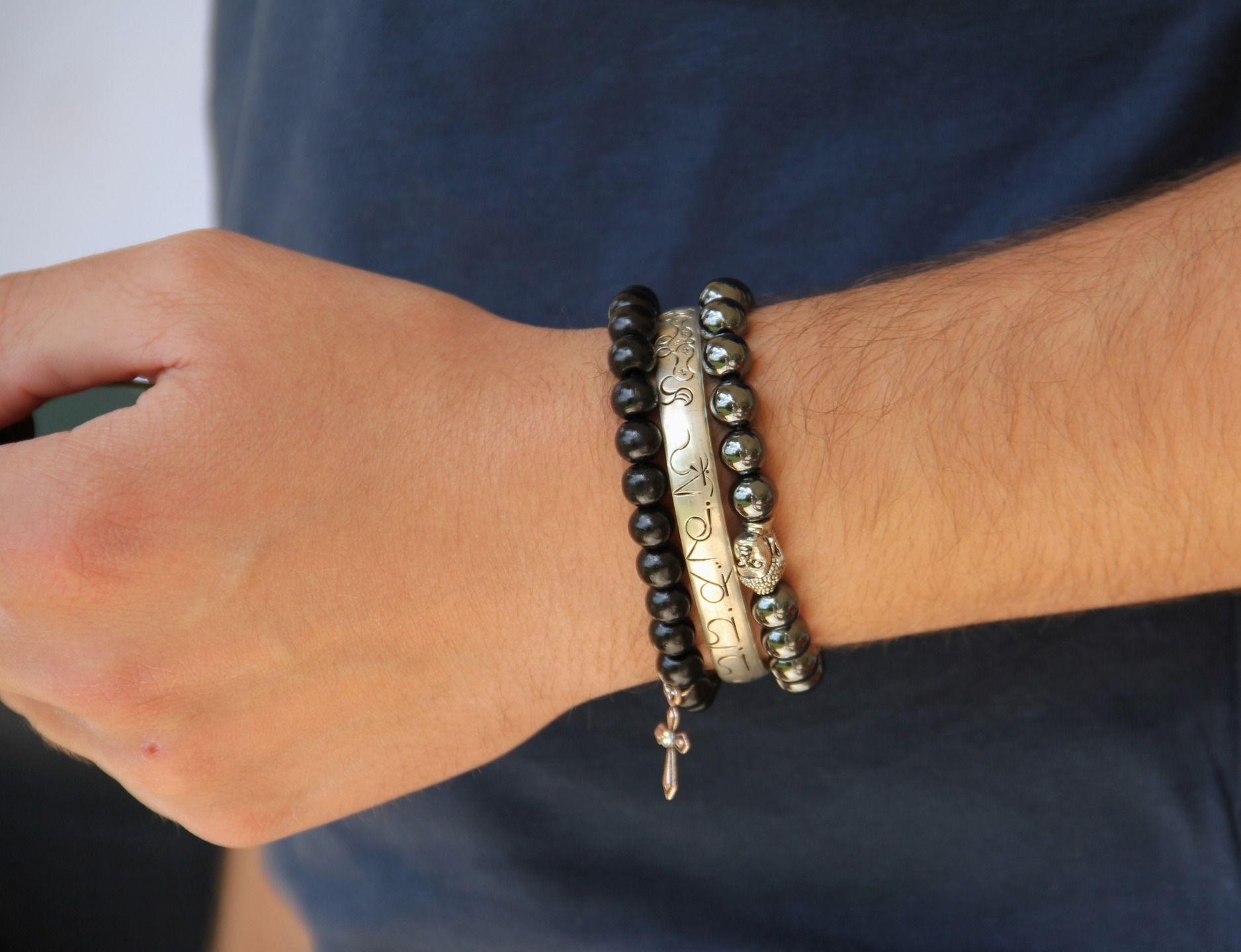 3 bracelets homme bouddha perles de bois jonc trio conomique bijoux pour hommes par made. Black Bedroom Furniture Sets. Home Design Ideas