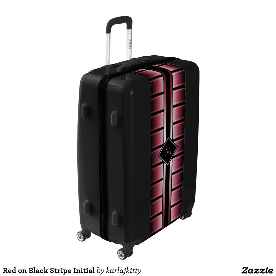 Red on Black Stripe Initial Luggage