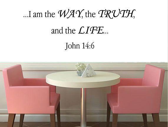 John 14:6 Vinyl Wall Art, Bible Wall Stickers, Christian Wall Decals ...